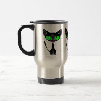 Taza felina de lujo del viaje del gato negro