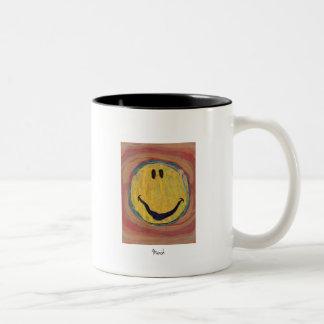 taza feliz de la cara de Edvard Munch