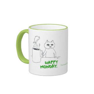 Taza feliz del gato de lunes