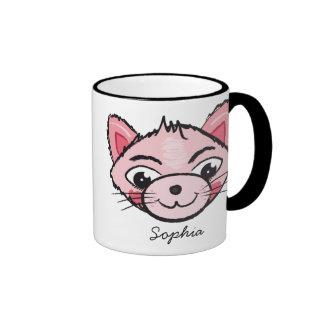 Taza feliz del gato de Rosa