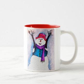 Taza feliz del muñeco de nieve