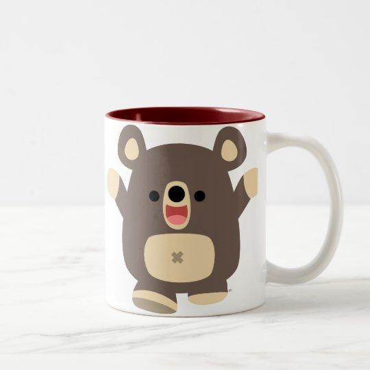 Taza feliz del oso negro del dibujo animado