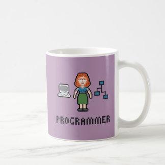 Taza femenina del programador del pixel