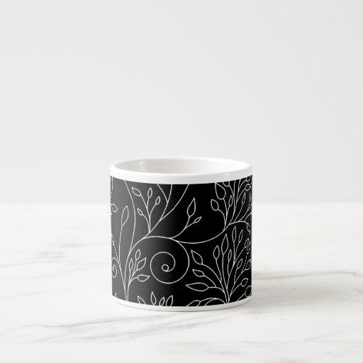 Taza floral blanco y negro del café express tazas espresso