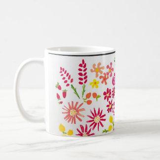 Taza floral de la acuarela dulce taza básica blanca