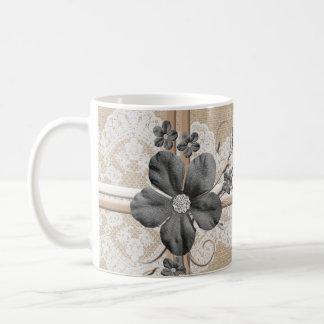 Taza floral de la arpillera del cordón de lujo