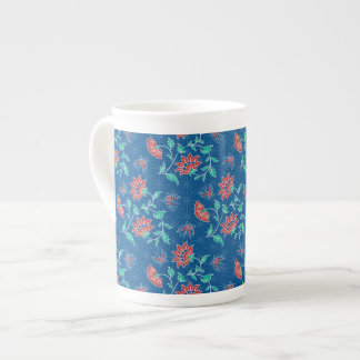 Taza floral de la porcelana de hueso del batik de taza de porcelana