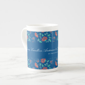 Taza floral de la porcelana de hueso del boda del taza de porcelana