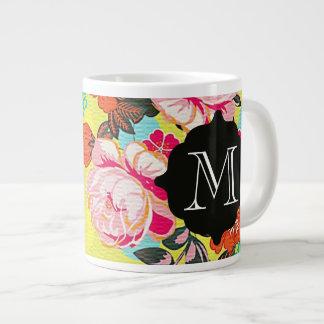 Taza floral femenina del gigante del monograma de taza extra grande