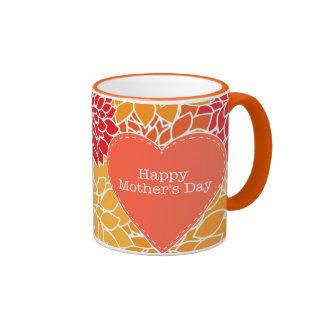 Taza floral oriental roja y anaranjada del día de