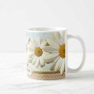 Taza floral romántica personalizada del cordón