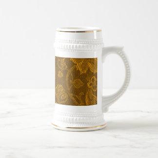 Taza floral Stein del oro amarillo de la mostaza
