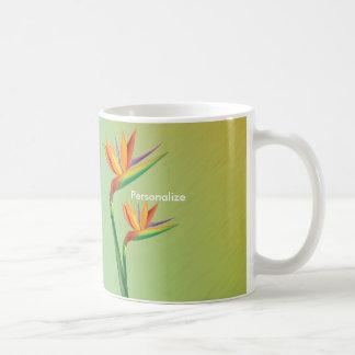 Taza floral tropical de la taza de café de la ave