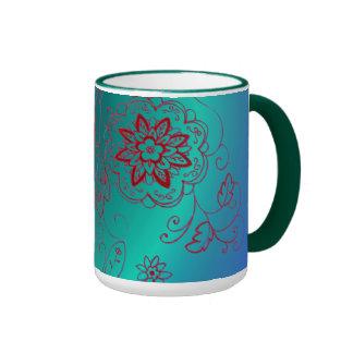 Taza floral verde