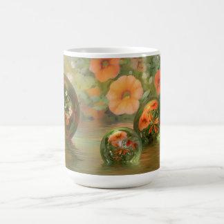 taza floral y de mármol de 3D