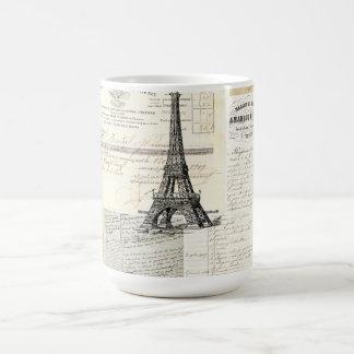 Taza francesa de las Ephemeras de París del vintag