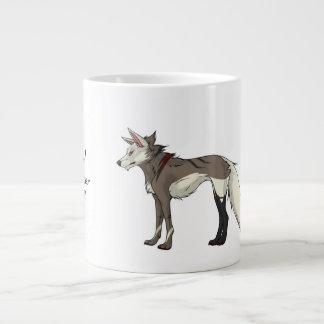Taza fresca del lobo de la chaqueta de punto. taza grande