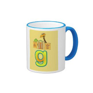taza/g-jirafa del alfabeto taza a dos colores