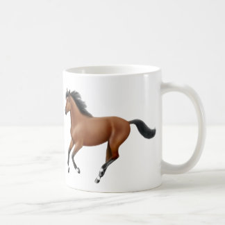 Taza galopante del caballo de bahía