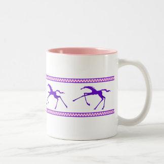 taza galopante del caballo - rosa y púrpura