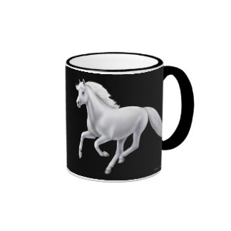 Taza galopante del campanero del caballo blanco