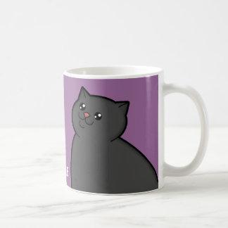 Taza gorda feliz del campanero del gato negro