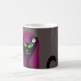 Taza gótica negra del gato