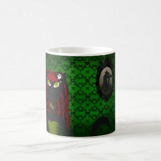 Taza gótica verde del gato negro