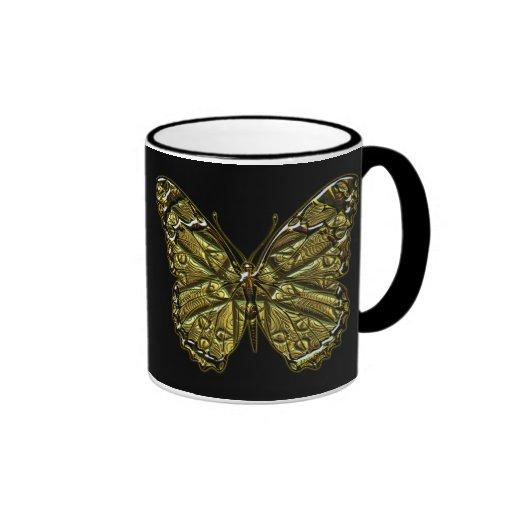 Taza grabada de la mariposa 2
