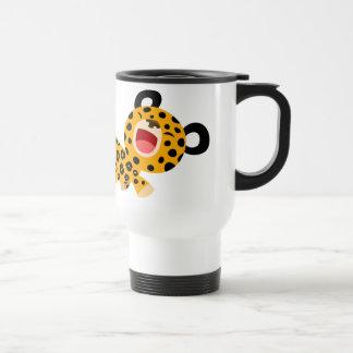 Taza graciosa del viajero del leopardo del dibujo