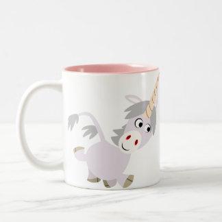 Taza graciosa linda del unicornio del dibujo