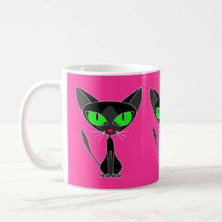 Taza grande felina de lujo del gato negro