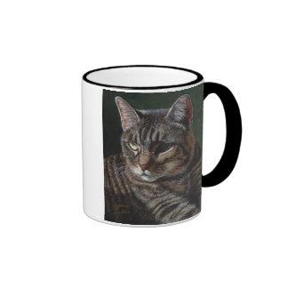 Taza gris de la taza de Hana del gato de Tabby