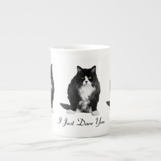 Taza gruñona de la porcelana de hueso del gato taza de porcelana
