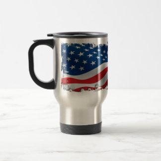 Taza hecha andrajos del viaje de la bandera americ