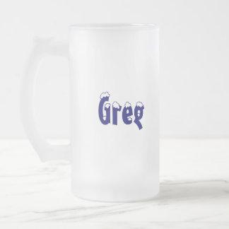 Taza helada estilo del Greg-Nombre