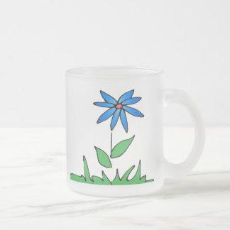 Taza helada flor azul simple
