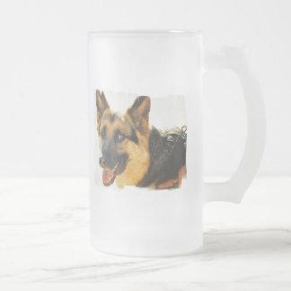 Taza helada foto del perro de pastor alemán