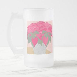 Taza helada navidad del Poinsettia