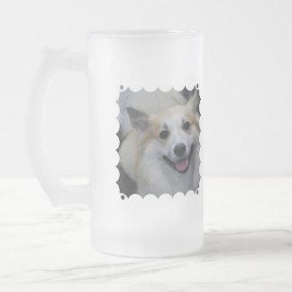 Taza helada perro pastor islandés sonriente