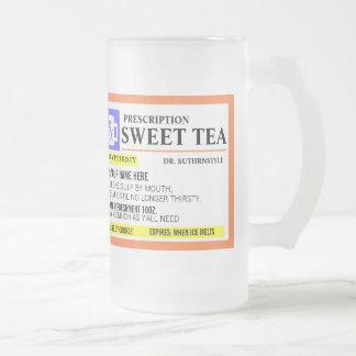Taza helada té dulce divertido de la prescripción