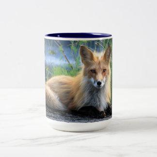 Taza hermosa del retrato de la foto del zorro