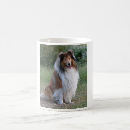 Taza hermosa del retrato del perro del collie, ide