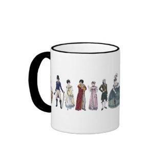 Taza histórica de Jane Austen de la moda de la reg