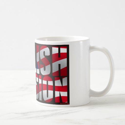 Taza inglesa de la bandera de los E.E.U.U. de la i