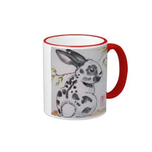 Taza inglesa del diseño del conejo de conejito del