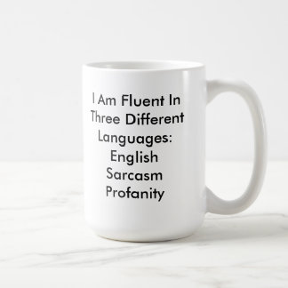Taza inglesa fluida divertida del sarcasmo de la b