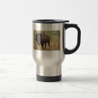 Taza inoxidable del viaje del bisonte de madera