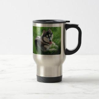 Taza inoxidable del viaje del perro del husky