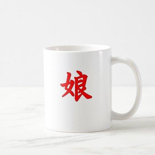 Taza japonesa del kanji de la hija